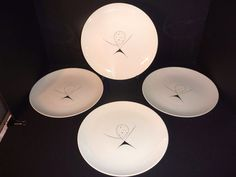 4 VTG Mid Century Modern Atomic Dinner Plate #1 Royal China USA Aria Biomorphic