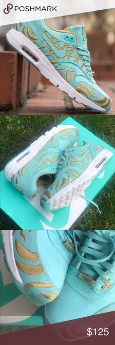 NEW ❄️ NIKE AIR MAX 1 ULTRA | WOMENS | TIFFANY New never worn ❄️ NIKE AIR MAX 1 ULTRA | TIFFANY SUEDE UPPER WITH GORGEOUS GOLD EMBROIDERED DETAIL. FULL RETAIL $140  Ships same or next day, ORIGINAL BOX, NO LID. smoke free home.  PRICE IS FIRM. 100% authentic purchased directly from NIKE ⚡️ Nike Shoes Athletic Shoes