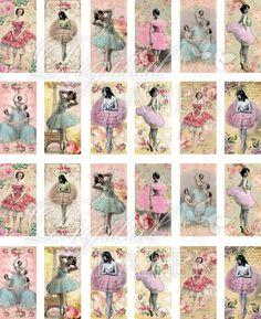 Ballerina - domino image - digital collage sheet - 1 x 2 inch