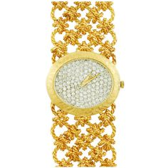Bueche Girod gold and diamond watch. Wide intricate link bracelet with oval all diamond face. Total diamond weight /> <br /> Very special and striking. Takes your breath away. Stylish Watches, Luxury Watches, Watches For Men, Wrist Watches, Nice Watches, Ladies Watches, Tag Heuer, Cartier, Bling Jewelry