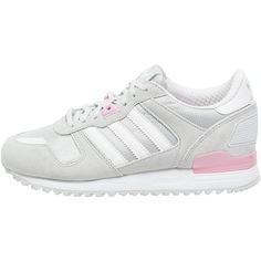 adidas Originals ZX 700 Trainers/pink (110 AUD) ❤ liked on Polyvore featuring shoes, clothes - shoes, grey, grey flat shoes, pink leather shoes, genuine leather shoes, pink shoes and round toe flat shoes