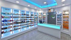 Glass shelves retail pharmacy interior… why custom design Design Exterior, Shop Interior Design, Retail Design, Store Design, Mobile Shop Design, Vintage Store, Supermarket Design, Floating Glass Shelves, Retail Shelving