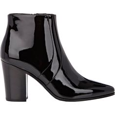 Saint Laurent Patent Leather French Boots ($1,195) ❤ liked on Polyvore