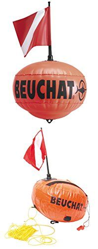 Beuchat Round Float  https://fishingrodsreelsandgear.com/product/beuchat-round-float/  Flag is 8″ x 7″ Float can be inflated to a max size of approximately 13″ wide x 10″ tall Minimum drag and good floating capacity Includes detachable red and white flag, with detachable pole