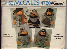I think perhaps Tobermory for C, and invent a Madame Cholet for A. McCall's Carefree Patterns 4780 Wombles (One Size) Craft Day, Mccalls Sewing Patterns, Vintage 70s, Clothing Patterns, Childhood Memories, 1970s, Dolls, Cool Stuff, Etsy