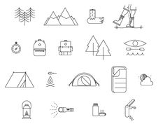18pc Camping Icon Set by Jason Smith