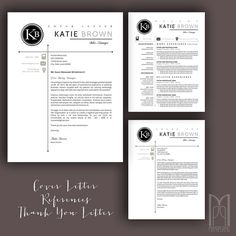 Resume Template and Cover Letter Template by MYPAPERPIG on Etsy Modern Resume Template, Creative Resume Templates, Katie Brown, Resume Writing Tips, Thank You Letter, Cover Letter Template, Professional Resume, Lettering, Words