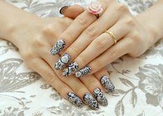 Almond nail oval nail press on nail navy blue cosplay by Aya1gou