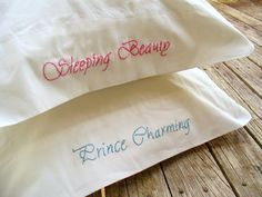 Embroidered pillow cases for him & her - sleeping beauty & prince charming Sleeping Beauty Prince, Disney Sleeping Beauty, Embroidery Applique, Machine Embroidery, Embroidery Designs, Embroidery Monogram, Sewing Crafts, Sewing Projects, Yarn Projects