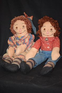 Vintage Doll Raggedy Ann & Andy Dolls Set Cloth Rag from oldeclectics on Ruby Lane