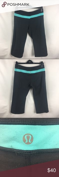 Gray & Tiffany Blue Reversible Groove Crops 10 The perfect pant for almost any workout. A true Lululemon classic. These are all gray on one side and the other side has a Tiffany blue/Teal band at the waist. Used condition. No trades no PayPal lululemon athletica Pants Ankle & Cropped