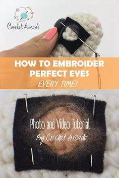 Embroidery Stitches Tutorial Eyes Embroidering video and photo tutorial with written description. Using one of those 3 methods you will embroider almost perfect eyes every time! Crochet Amigurumi Free Patterns, Crochet Patterns Amigurumi, Crochet Dolls, Crochet Basics, Crochet For Beginners, Crochet Eyes, Knit Crochet, Embroidery Stitches Tutorial, Amigurumi Tutorial