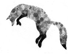 Fox 8X10 print of my original ink painting, animal painting, ink bubble on Etsy, $20.00