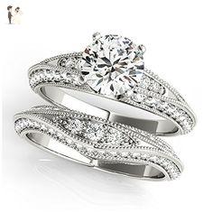 14K White Gold Unique Wedding Diamond Bridal Set Style MT50644 - Wedding and engagement rings (*Amazon Partner-Link)