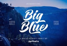Big Blue Fontis a hand brushed typeface, with authentic Clean and Rough imperfections, and a very bouncy baseline It has a perfectly paired complimentary marker font , and a super handy set of bonus Swash. Ideal for logos, handwritten quotes, product packaging, header, poster, merchandise, social media & greeting cards.
