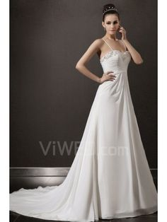 Chiffon Spaghetti Cathedral Train A-line Wedding Dress with Beading