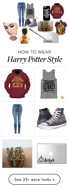 """Harry Potter movie marathon"" by fangirl-20037 on Polyvore featuring Lime Crime, Topshop and Converse"