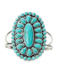 Turquoise Set Stone Cuff