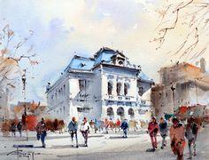 Corneliu Dragan-Targoviste | urban landscape watercolour-39