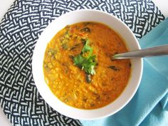 Coconut Curry Lentil Soup - Vegan and Gluten-Free.  I added broccoli, spinach, red peppers, red cabbage and cilantro.  I bet cauliflower and green beans would be good too.