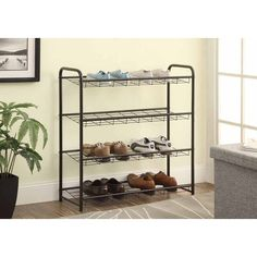 Rebrilliant 12 Pair Shoe Rack finished in black. Constructed with metal frame. Features rows of angled racks. Black Shoe Rack, 8 Pair Shoe Rack, Metal Shoe Rack, Diy Shoe Rack, Shoe Storage, Shoe Racks, Shoe Rack For Sale, Shoe Rack Dimensions, Shoe Rack Wayfair