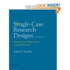 Kazdin's language is clear and reader-friendly, especially useful for me being new to research in general, let alone single subject research. Kazdin uses plenty of illustrations, both verbal and graphic, so his explanations are even further clarified. I don't think I can say enough except that this is a great resource on the subject of single subject design. (Customer Review)