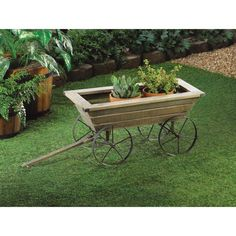 Garden Cart Planter Box. This handy planting cart can roll with the best of them. Metal wheels let you pull it around to where you want, when you want. In spring you could place trays of young plants across the top and wheel them inside at night to keep them safe from frost. During the summer this rustic cart can display your favorite flowers wherever you want them.