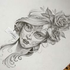 Day of the dead tattoo design. Pencil drawing on bristol