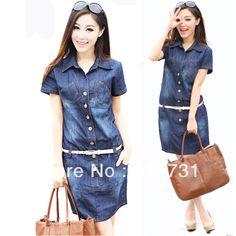 Plus Size 4XL Short Sleeve Washed Jeans Dress 2014 Spring Summer New  Fashion Women Casual Denim Dresses with Belt XXXXL 3XL XXXL 8fcc5cef13b4