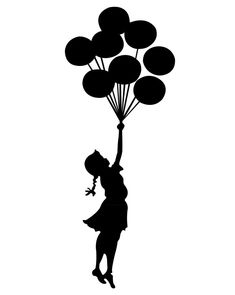 Bansky template girl with balloons - .- Bansky Vorlage Mädchen mit Luftballons – … Bansky template girl with balloons – - Banksy Graffiti, Silhouette Portrait, Silhouette Art, Decoration Restaurant, Its A Girl Balloons, Girl With Balloon, Girl Holding Balloons, Arte Quilling, Stencil Printing