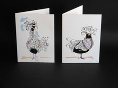 Two Hens greetings cards by Emily Morley. by FanFarePrintDesigns