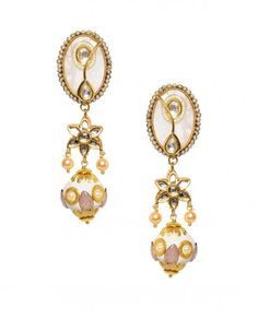 Golden Earrings with White Agate Stone
