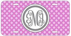 Personalized Monogrammed Polka Dot Hot Pink Grey Vine License Plate Auto Tag Top Craft Case http://www.amazon.com/dp/B00OMQDG54/ref=cm_sw_r_pi_dp_WMotub0J7RR8N