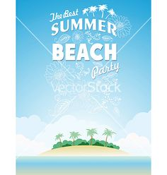 Summer beach island party background vector by lindwa on VectorStock®