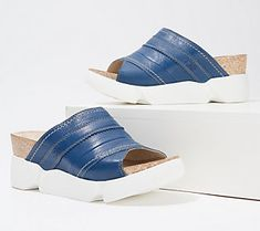 Fly London, Shoes With Jeans, Qvc, Slide Sandals, Heeled Mules, Display, Heels, Leather, Blue
