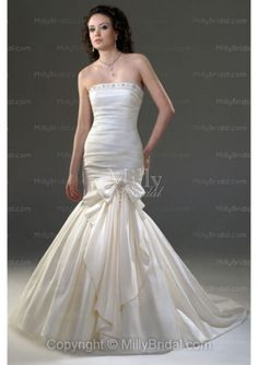 Trumpet/Mermaid Strapless Beading Taffeta Court Train Wedding Dress at Millybridal.com