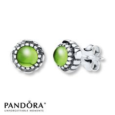 Pandora Earrings Peridot Sterling Silver