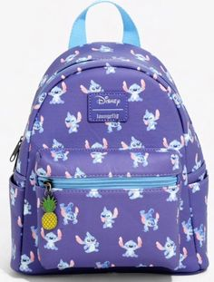 Stitch, Stitch, and more Stitch! This Lilo & Stitch mini backpack from Loungefly and Disney features teeny character poses with an enamel pineapple zipper charm. Front pocket, zipper closure and adjustable padded straps. Disney Handbags, Disney Purse, Stitch Backpack, Backpack Purse, Cute Stitch, Lilo Stitch, Disney Stitch, Mochila Jansport, Cute Mini Backpacks