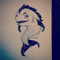 "Inktober // Day 15 ""Under the sea"" #inktober #inktober2015 #sketch #sketchbook #fish #underthesea #littlemermaid"