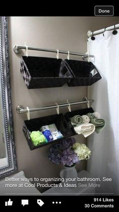 Zipties, shower rods, and baskets, and you have some great bathroom storage! -- Top 20 Creative Bathroom Hacks