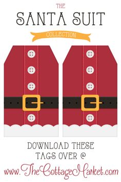Free Printable Santa Suit Holiday Gift Tags …a Gift to you from The Cottage Market  Page of 9