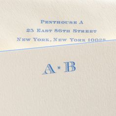 Bone White Empire Card with Ness Blue Square Beveled Edges, Monogram Engraved in Ness Blue. Monogram Stationary, Monogrammed Stationery, Oyster Bay New York, Wedding Stationery, Wedding Invitations, Hand Engraving, Letterpress, Oysters, Embroidery Patterns