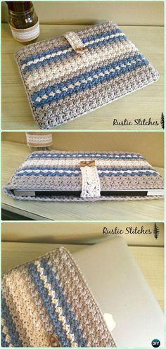 Crochet Purses Ideas Crochet Apple Laptop Case Free Pattern - DIY Gift Ideas for Crocheters - DIY Crochet Gift Ideas for Crocheters with Instructions Diy Crochet Gifts, Bag Crochet, Crochet Shell Stitch, Crochet Handbags, Crochet Purses, Crochet Crafts, Crochet Projects, Diy Gifts, Purse Patterns