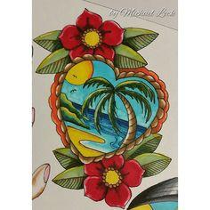 """Paradise love #michaellock69 #mytattoodesigns #drawings #oldschooltattoo…"