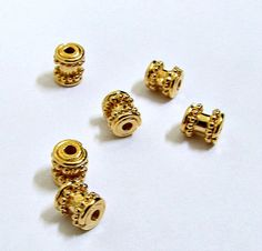 Cute Dotted Spool Shaped Bali Gold Vermeil Tube by BeadingHeartCo, $3.95
