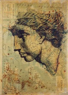 Atlas and anatomy - The Spanish painter, Fernando Vicente, captures in his work Atlas the human icon of the body on maps. Old World Maps, Old Maps, Vintage World Maps, World Map Decor, Book Background, Human Icon, Map Art, Oeuvre D'art, Les Oeuvres