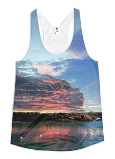 Shipstern Island - Women's Racerback Tank // Axly // Shipstern-a captivating and dangerous island-forges ahead in down east Maine. Flattering A-line cut. A vibrant sublimated American Apparel tank top made of 100% polyester jersey construction. The fabric is soft, lightweight and comfortable. Designed, Sewn, and Printed in the United States. Sweatshop Free.