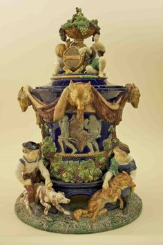 Minton Wine Cooler. Exceedingly rare. England. Image from the Karmason Library of the Majolica International Society.