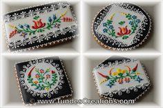 The Gingerbread Artist: Hungarian folk art flowers on black and white 1.