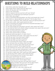 Questions to Build Relationships Questions to Build Relationships,Social emotional activities FREE list of over 100 questions to help build positive relationships and integrate social emotional learning into the classroom! Fun Questions To Ask, This Or That Questions, Date Night Questions, Questions To Get To Know Someone, Random Questions, Questions To Ask Your Boyfriend, Dating Questions, Couple Questions, Interesting Questions To Ask